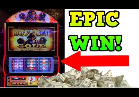 EPIC WIN ON BUFFALO GOLD SLOT MACHINE! 63 FREE GAMES WON! 3 REEL SLOTS
