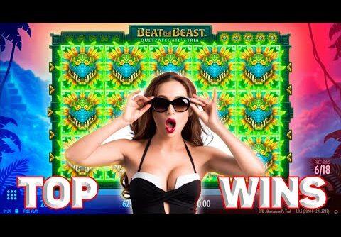 Big Epic Win Compilation on Beat the Beast Quetzalcoatl's Trial Slot