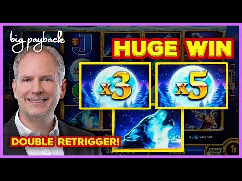 RARE DOUBLE RETRIGGER! Timber Wolf Gold Slot – HUGE WIN!