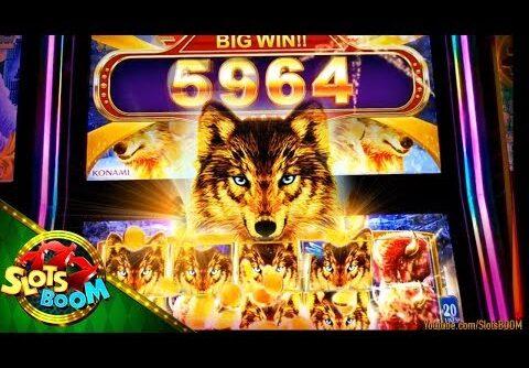 Golden Wolves BONUS BIG WIN !!!  Hu Wang Live Bonus 5c Konami Slots in San Manuel Casino